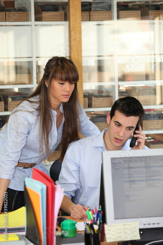 Young people working in an office