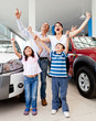 Happy family buying a car