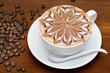 Coffee cappuccino with coffee beans