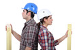 Male and female carpenters