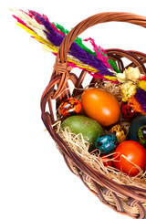 Traditional Easter basket with painted eggs
