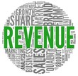 Revenue and sales in word tag cloud