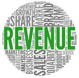 Revenue and sales in word tag cloud poster