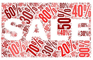 Sale concept in word tag cloud