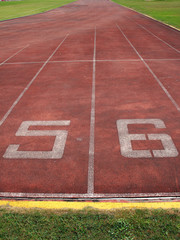 start point, number on  track in stadium.