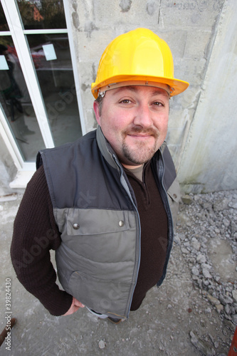 Builder on a construction site