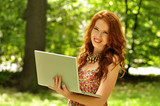 beauty, girl, laptop, mobile, outdoor, relax, wi-fi, young