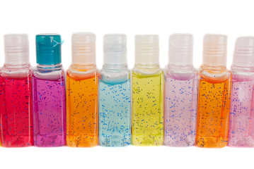 Hand sanitizer set  different colors isolated
