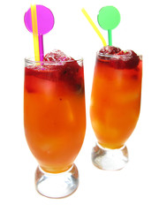 two fruit red punch cocktail drinks with strawberry