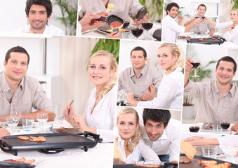 Collage of friends eating raclette