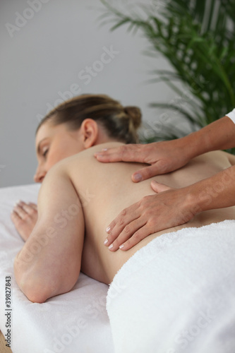 Woman in massage parlor