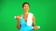 Female Exercise Weights Green Screen Technology