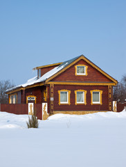 Wooden home in winter