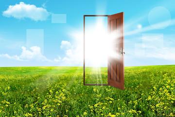 Open door in steppe