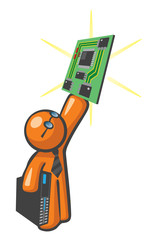 Orange Man with Server Mother Board