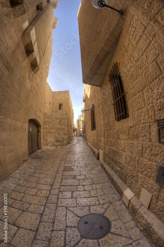 Poster old jerusalem streets in Israel travel attraction