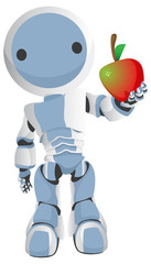 Blue Robot Holding Apple Out to Viewer