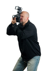 Professional photographer taking photos isolated on white