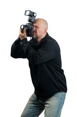 Professional photographer taking photos isolated on white
