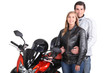 couple next to motorbike