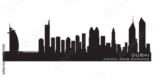 Dubai, Emirates skyline. Detailed vector silhouette