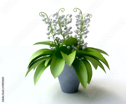 Lily of the Valley Bouquet in Blue Flowerpot