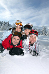 Group of friends on a skiing holiday together