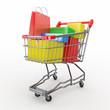 Gift buying. Shopping cart full of boxes