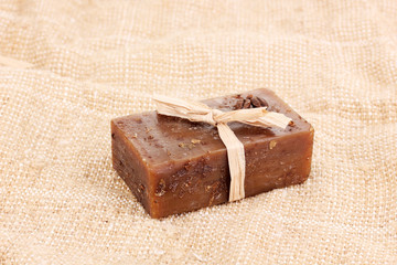 Hand-made soap on sackcloth