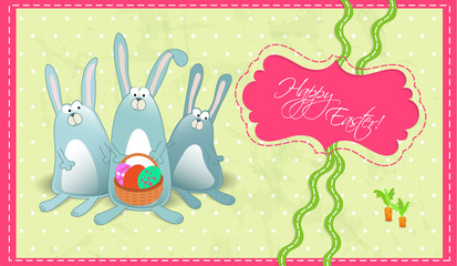 Happy Easter postcard with rabbits gorizontal