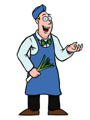 Greengrocer holding a fresh leek showing something