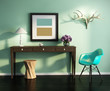 Green fresh vintage interior with stool, table, chair, frame