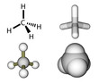 Methane structural formula and molecular models