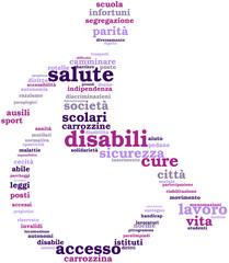 disabili: pittogramma con tagcloud