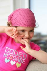 Little girl wearing bandana
