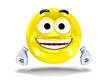 Happy smiley face, emoticon laughing