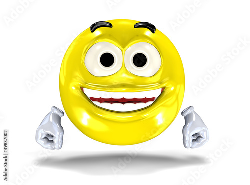 Happy smiley face, emoticon laughing