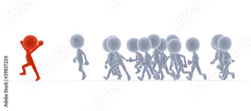 Toon people running, competition, team leader