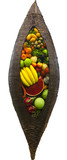 decorative wicker basket of thai variety  dummy fruit