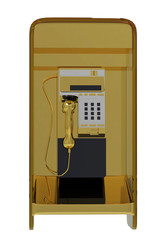 golden pay phone front view