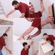 Montage of man wallpapering