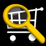Shopping cart under magnifier glass