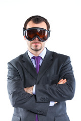 Portrait of a  business man in ski goggles
