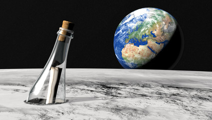 Message in a bottle from the moon