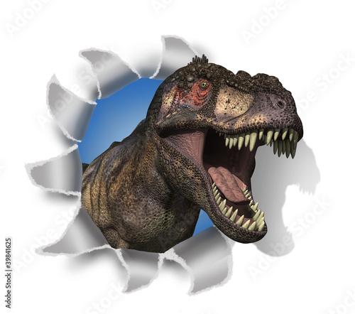 Leinwanddruck Bild T-Rex Rips Through Your Document!