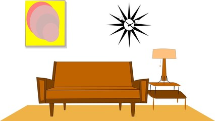 fifties living room interior background