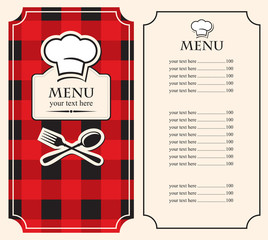 menu on black red background with chef's hat