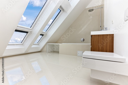 Sunlit modern bathroom of Contemporary apartment - 39843001