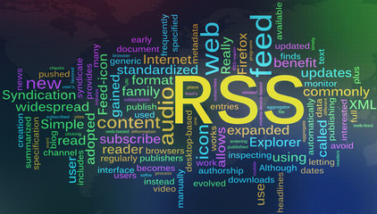 Wordcloud of RSS - Really Simple Syndication