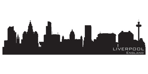 Liverpool, England skyline. Detailed vector silhouette
